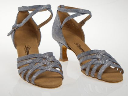 Made in Germany Diamant Damen Tanzschuhe//Sandalette 008-077-442 Special Edition Veloursleder Jeans-Print 5 cm Flare